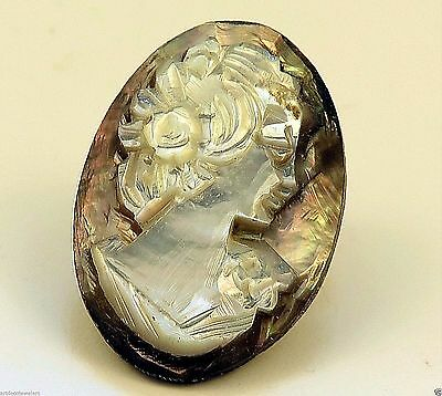 Vintage ART DECO CARVED MOTHER OF PEARL & ABALONE CAMEO finding RIGHT