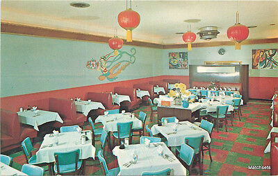 1950's Chung King Chow Chinese Restaurant  NEW JERSEY Interior postcard 11092