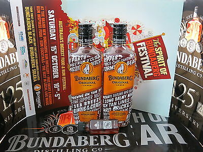 2 x Bundaberg Original U.P Rum Ltd Edition Summer Label + 2 MDC BB 50ML & Poster