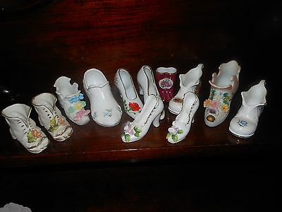 12 porcelain small collectable vase shoes
