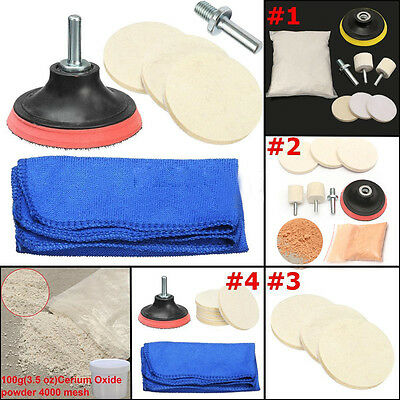 Glass Polishing Kit, Glass Scratch Removal ,8 Oz Cerium Oxide &3'' Bobs tool set