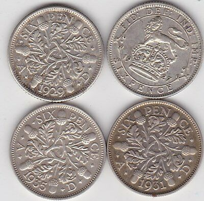 1927/1929/1931 & 1935 Sixpences In Very Fine Or Better Condition