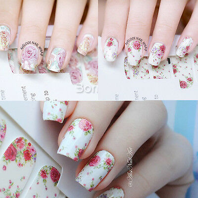 14pcs/ Sheet Floral Nail Wraps Pink Roses Nail Art Full Stickers Decals Manicure