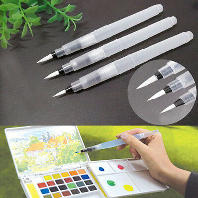 Soft 3Size Brush Water Ink Pen For Watercolor Painting Storage Refillable