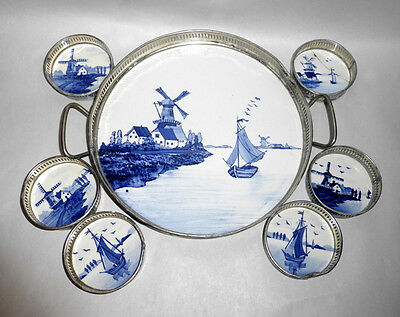 Antique Germany Hand Painted Porcelain Tile Tray & Coaster Set - Windmills