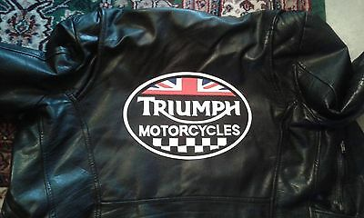 Triumph Motorcycles check oval back patch. 12 inch. Synthetic leather NEW NICE