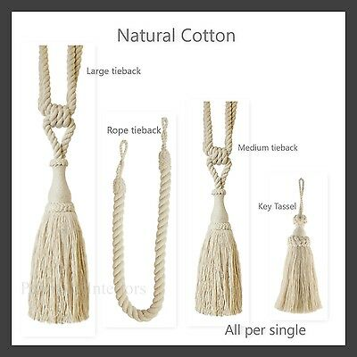 Natural Cotton Curtain Tieback Rope Key Tassel - Per single - Tie-Back  Tie back
