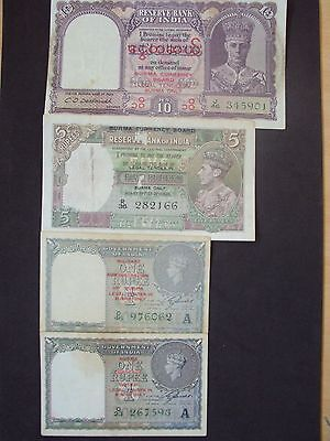Burma~India 4 notes 1~10 Rupees 1940's