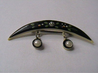 Vintage 1950's Celluloid Floral Crescent Moon With Pearl Drops Pin