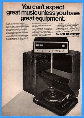 1974 Pioneer PL-10 LP Record Changer Turntable Receive Stereo Component Print Ad