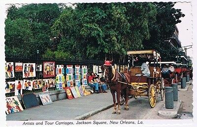 Louisiana Postcard New Orleans Artists & Tour Carriages