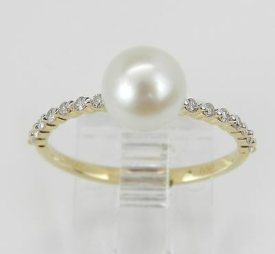 14K Yellow Gold Pearl and Diamond Engagement Ring Promise Ring Size 7 June Gem