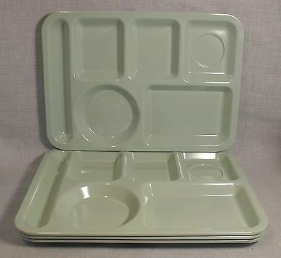 Lot 4 TEXAS WARE  Green Melamine School Picnic Camping Lunch Divided Trays