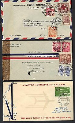 COLOMBIA 1940s THREE COMMERCIAL COVERS ALL TO US INCLUDES A FIRST FLIGHT COVER