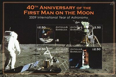 NEIL ARMSTRONG First Man on Moon/Apollo XI EAGLE Lunar Module Space Stamp Sheet