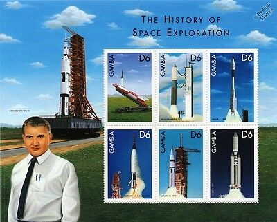 Wernher von Braun Space Exploration/Rocket Spacecraft Stamp Sheet (1999 Gambia)