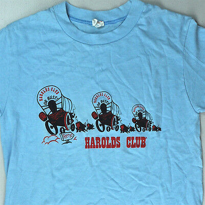 Harolds Club Casino Reno Or Bust Covered Wagon Vtg T-Shirt Small XS True Fit NOS