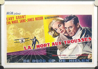 E1488d NORTH BY NORTHWEST ALFRED HITCHCOCK CARY GRANT ORIG BELGIUM POSTER linen