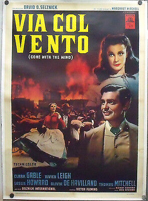 E050d GONE WITH THE WIND CLARK GABLE VIVIEN LEIGH ORIG 2sh POSTER ITALY linen