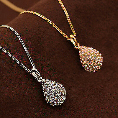 C Women Fashion Gold Silver Plated Crystal Pendant Long Chain Statement Necklace