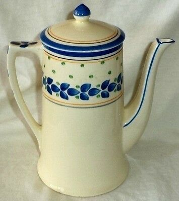 Crown Ducal Teapot Blue Leaves on Ivory Made in England 4711F