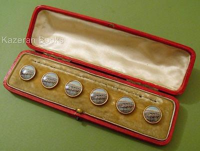 Set Vintage Circa 1920 Rolled Gold Pictorial Rowing Scratch Fours Buttons In Box