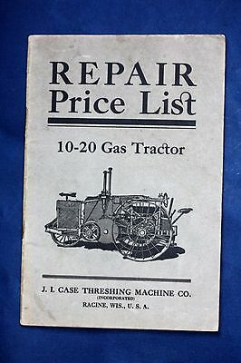 ORIGINAL J. I. Case 10-20 Gas Tractor Repair Price List, Very Good Condition