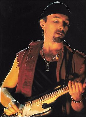 U2 The Edge with Fender Stratocaster guitar 8 x 11 pinup photo