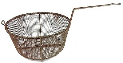 "Vintage Antique Large Deep 11.5"" Wire Frying Basket Rusty Primitive Rustic!"