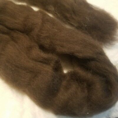 CRAZY Yak Roving 100% Dark Chocolate 15-16  micron soft combed top spin 2 oz