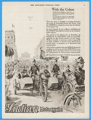 1918 Indian Motorcycle Hendee Mfg WWI US Army Entry Into Paris France Sidecar Ad