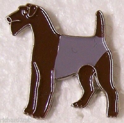 Hat Lapel Pin Scarf Clasp Dog Airdale NEW