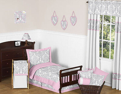 Sweet Jojo Designs Pink & Gray Damask Girl Toddler Kids Cotton Bedding Sheet Set