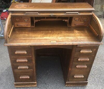 Antique Edwardian Lebus Oak Roll Top Tambour Desk