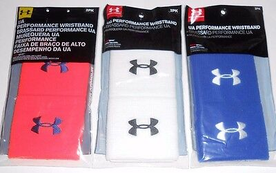 """2-Pack Under Armour 3"""" Performance Wristbands 1218012 - Choose Orange,White,Blue"""