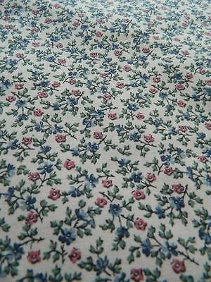 UNUSED vintage cotton fabric from Liberty - blue ditsy florals - 110cms x 90cms