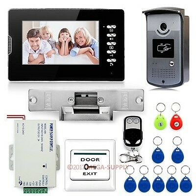 "7"" Video Door Phone Entry System 700TVL Camera Monitor RFID Keyfob Remote Unlock"