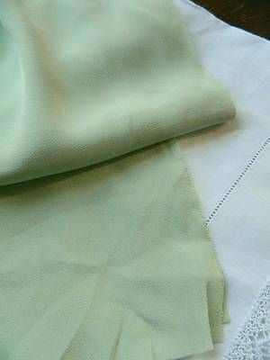 "UNUSED vintage Lingerie crepe silk fabric in green - 36"" x 1yd (3 yds available)"