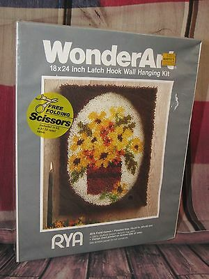 Floral Latch Hook Rug Kit To Finish 18 x 24 inches Beautiful Yellows Wonderart