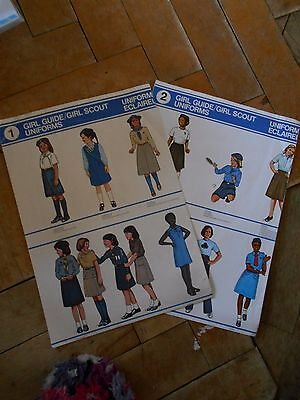 2 Uniform charts for Girl Guides - 1984