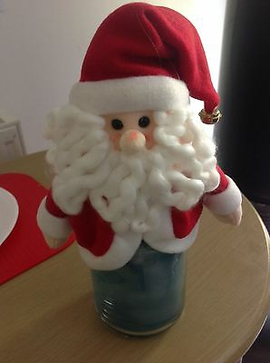 yankee candle jar holder topper santa claus father christmas with tag ( no jar )