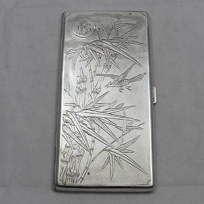 SUPERB LARGE CHINESE EXPORT SOLID SILVER CIGARETTE CASE LEE YEE HING c1900 179 g