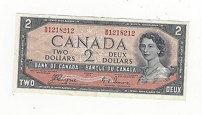 **1954**Canada $2 Note, Coyne/Towers # BB 1218212  BC-30a  Devil's Face