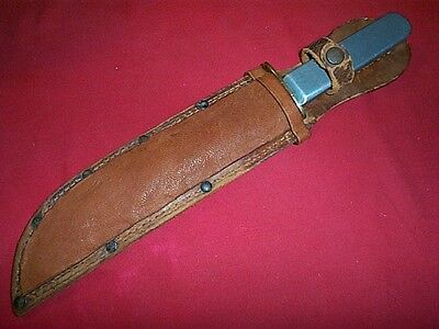 WWII U. S. Theater Aluminum Handle Large Fighting Bowie Style Side Knife W/Sh