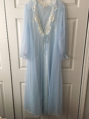 Vtg Blue Barbizon Sheer Chiffon Nightgown Gown Negligee & Robe Lace Sz M