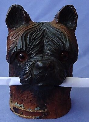"""Antique Black Forest West Highland Cairn Norwich Terrier Inkwell 5"""""""