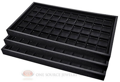 (3) Black Plastic Stackable Trays w/50 Compartments Black Jewelry Display Insert