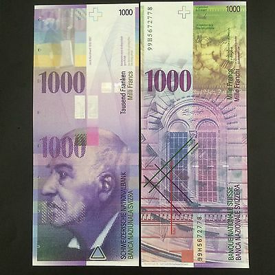 Switzerland 1000 1,000 Francs, 1999, P-74b, banknote UNC>See Scan 99H5672778