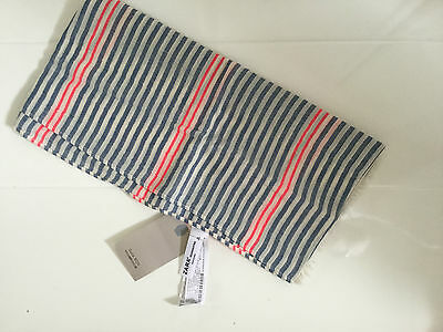 New Zara Kids Lightweight Cotton Striped Scarf- Fringed Ends–Ivory,blue & Red