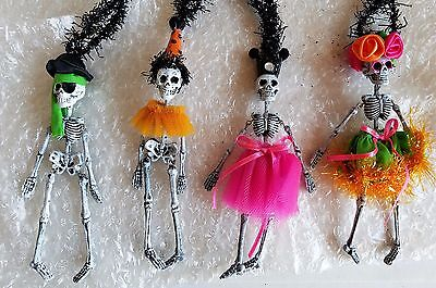 Skeleton Halloween Party Set of 4 Dangle Ornaments Day Of The Dead Dept 56